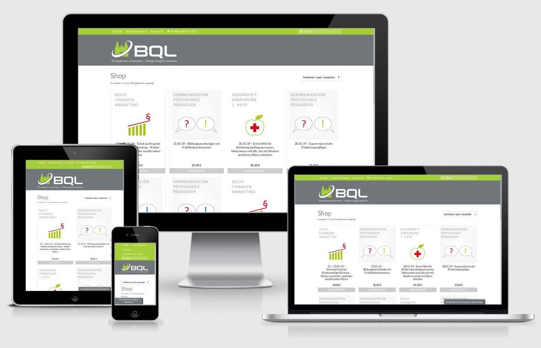 https://BQL.GmbH OnlineShop für Seminare inkl. Gutscheinanrechnung + Blog : Erhöhung der Sicherheit, Verschlüsselung, Geschwindigkeitsoptimierung, redaktionelle Pflege, technische Pflege, individuelle Programmierung, grafischer + technischer Relaunch