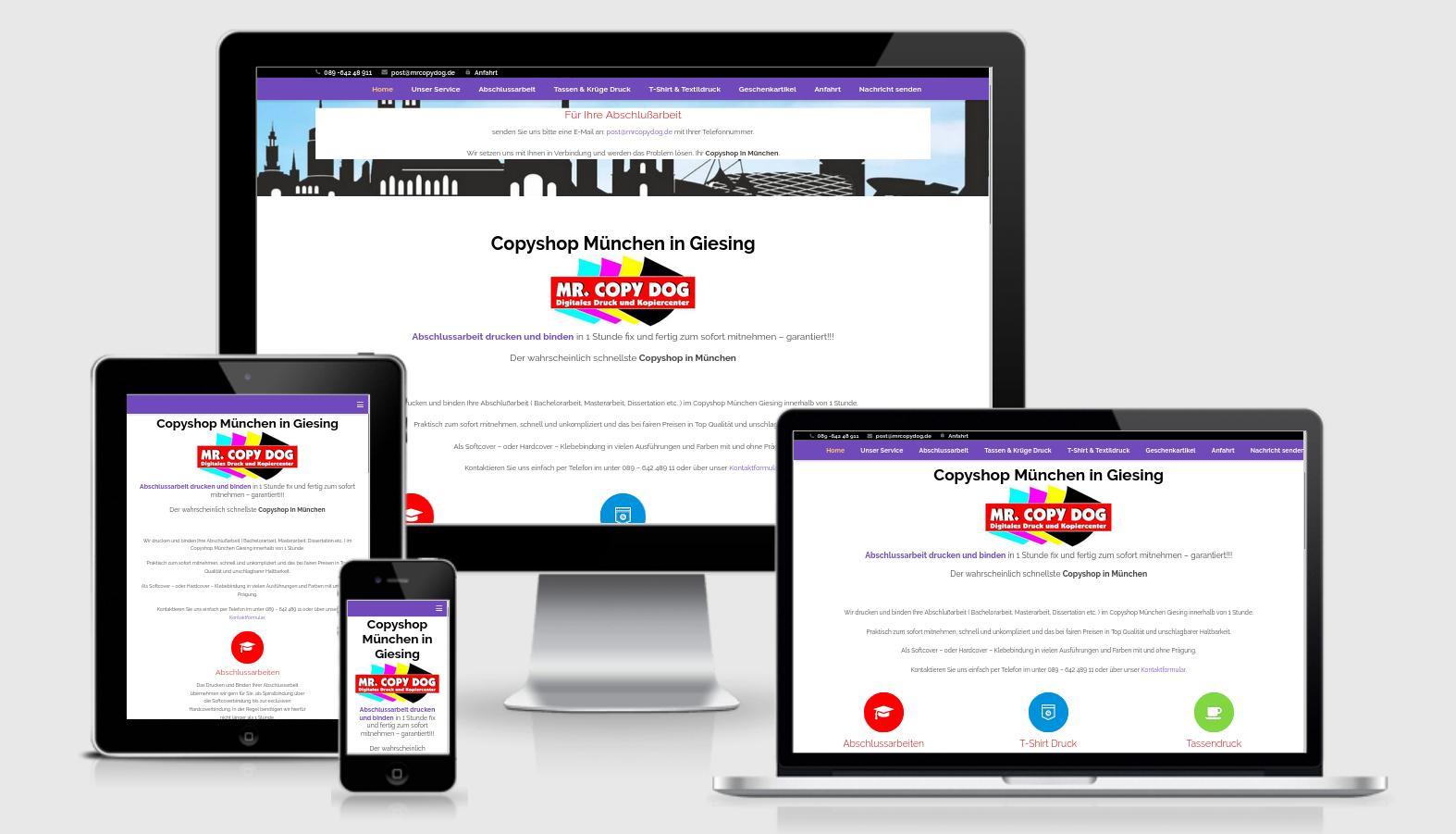 https://copyshop-in-muenchen.de Website Relaunch: Suchmaschinenoptimierung (SEO), Verbesserung des Benutzerelebnisses (UX/UI), Wartung, Ladezeitoptimierung, neues Hosting