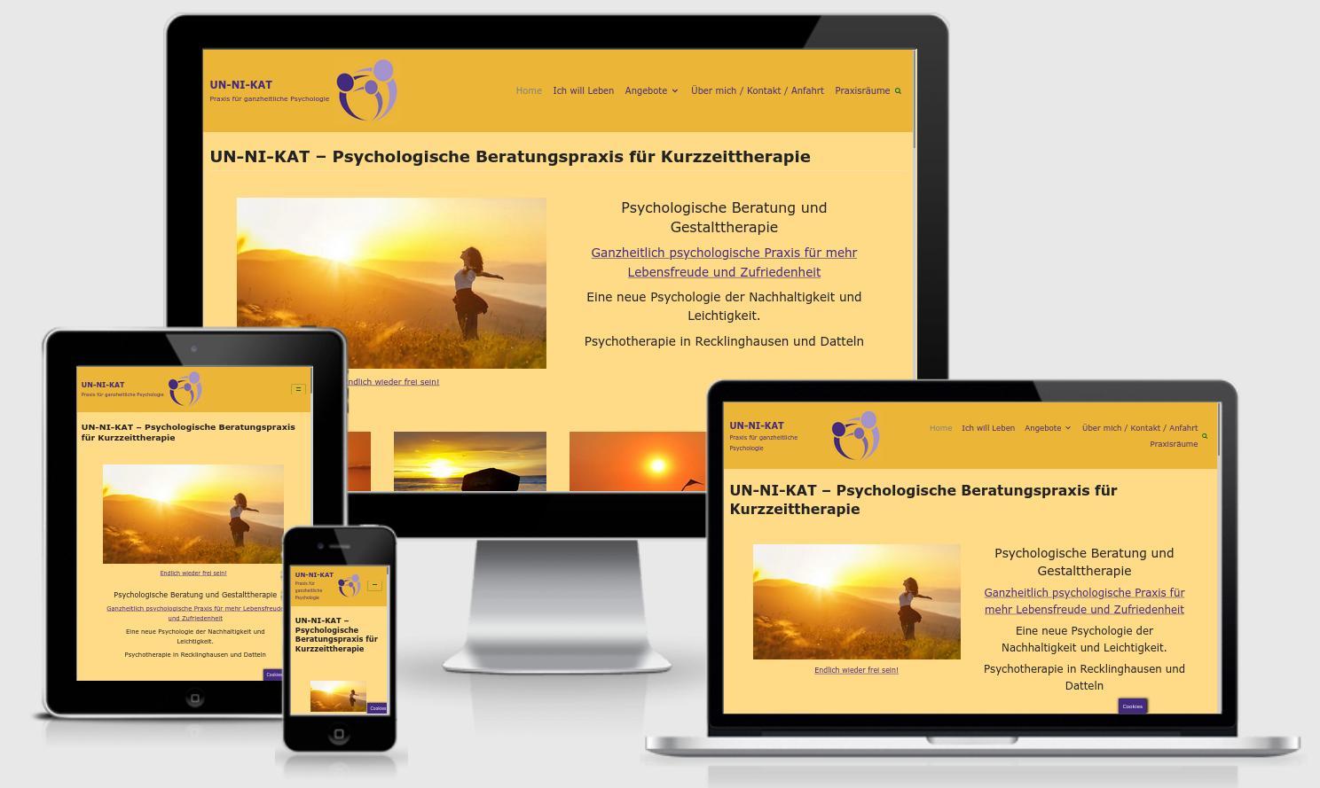 https://un-ni-kat.de Komplettes Redesign einer Website (Logo, Struktur, Technologie, Verbesseung des Benutzerelbnisses (UX/UI), Wartung, Ladezeitoptimierung, Hosting